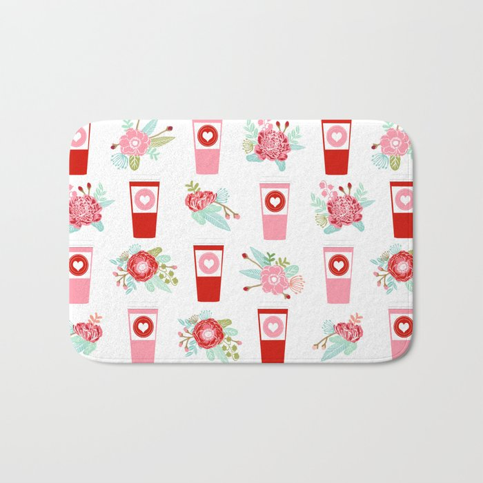 Coffee floral bouquet painted flowers for valentines day gifts coffee lovers must haves Bath Mat