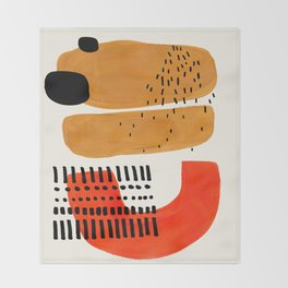 Mid Century Modern Abstract Minimalist Retro Vintage Style Fun Playful Ochre Yellow Ochre Orange Sha Throw Blanket