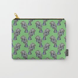 Watercolor Manatees on Muted Green Carry-All Pouch