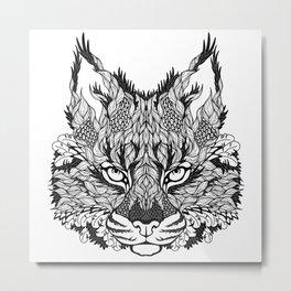 LYNX head. psychedelic / zentangle style Metal Print