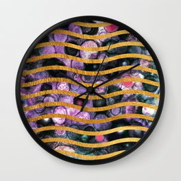 Gold Waves and Ink #society6 Wall Clock
