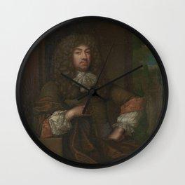 Portrait of Jan Boudaen Courten (1635-1716), lord of St. Laurens, Schellach and Popkensburg, Judge a Wall Clock