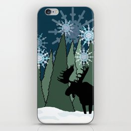 Moose in the Snowy Forest iPhone Skin