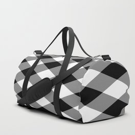 Gingham Plaid Black & White Duffle Bag