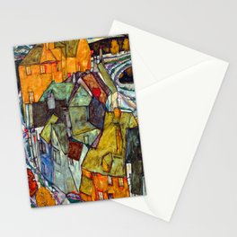 Egon Schiele Crescent of Houses II Stationery Cards