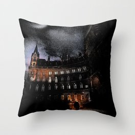 Spooky Victorian London Architecture Throw Pillow