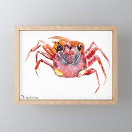 Crab, red pink orange kitchen artwork design Framed Mini Art Print