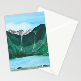Avalanche Lake Mountain Waterfall Art Stationery Cards