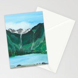 Avalanche Lake Mountain Waterfall Art Stationery Cards