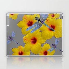 BLUE DRAGONFLIES YELLOW HIBISCUS GREY Laptop & iPad Skin