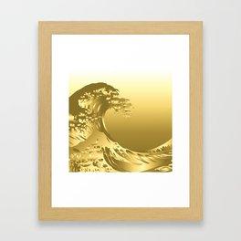 Gold Hokusai Great Wave Framed Art Print