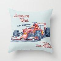 f1 Throw Pillows featuring F1 Ferrari-Kimi Räikkönen by dareba