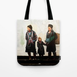 Hmong women at Bus Stop Tote Bag