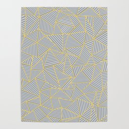 Ab Outline Gold and Grey Poster