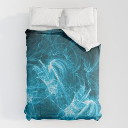 Ice-Blue Crystalized Clouds: Fractal Art of Fantasy Comforters