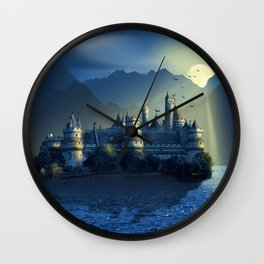 Fairy Castle In Mystic Blue Wall Clock