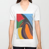 art deco V-neck T-shirts featuring Art Deco Revival by Ana Lillith Bar