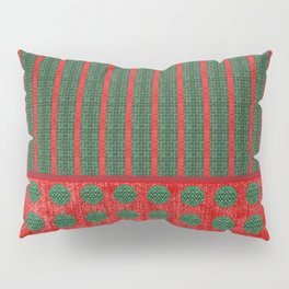 Polka Dots and Stripes in Christmas Red and Green Pillow Sham