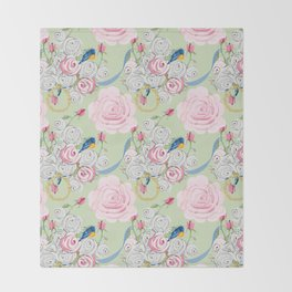 Shabby Chic Bluebirds and Roses Throw Blanket