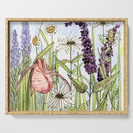 Lady Slipper Orchid Woodland Wildflower Watercolor Serving Tray