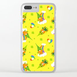 St. Patrick's Day Leprechaun, Rainbows and Shamrock Hearts Clear iPhone Case