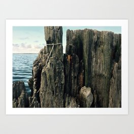 Kitty Hawk Bay Crabbing Wall Art Print