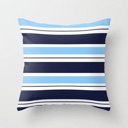 Blue Navy and Turquoise Stripes Throw Pillow