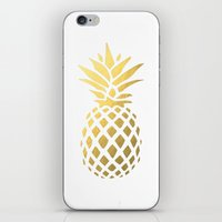 gold foil iPhone & iPod Skins featuring Faux Gold Foil Pineapple by South Pacific Prints