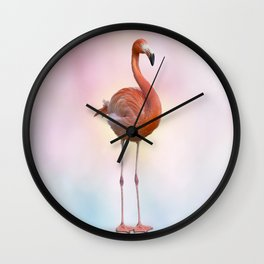 digital painting of Pink flamingo Wall Clock