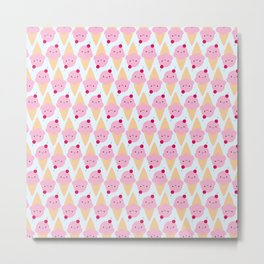 Kawaii Ice Cream Cones Metal Print