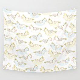 Sleepy lazy cats in unicorn floaties Wall Tapestry
