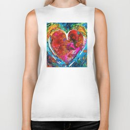 Colorful Heart Art - Everlasting - By Sharon Cummings Biker Tank