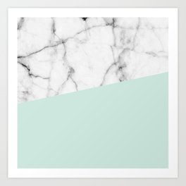 Real White marble Half pastel Mint Green Art Print