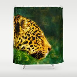 Jaguar in the Grass Shower Curtain