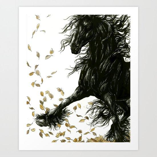 Autumn Friesian Art Print