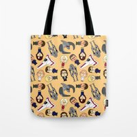 battlestar Tote Bags featuring So Say We All by frauholle