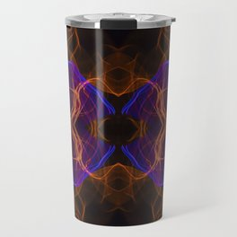 Abstract and symmetrical texture in the form of colorful smoke clouds. Travel Mug