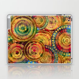 Colorful Circular Tribal  pattern with gold Laptop & iPad Skin