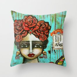 FRIDA PAINTING BAD ASS Throw Pillow