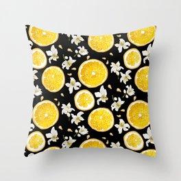 Orange Fruit Bloom Throw Pillow