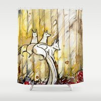 three of the possessed Shower Curtains featuring Three by Rubis Firenos