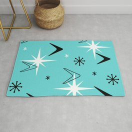 Vintage 1950s Boomerangs and Stars Turquoise Rug