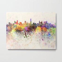 Melbourne skyline in watercolor background Metal Print