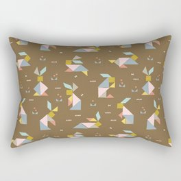 Tangram Bunnies M+M Nutmeg by Friztin Rectangular Pillow