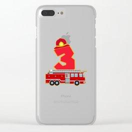 3rd Birthday Fireman Firefighter Fire Truck Gift Clear iPhone Case