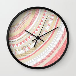 Coral + Gold Tribal Wall Clock