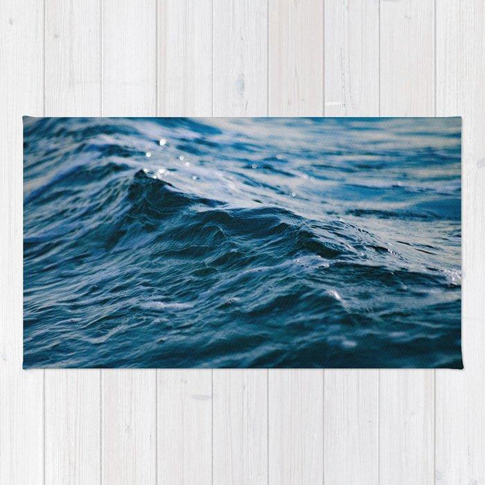 Blue Ocean Waves Rug