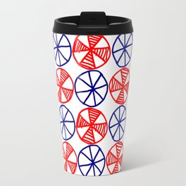 Cogs and Wheels Blue and Red Travel Mug