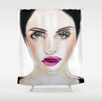 glitch Shower Curtains featuring Glitch by Hiba Khan Art