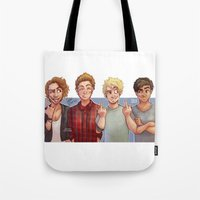 5 seconds of summer Tote Bags featuring 5 Seconds of Summer by gabitozati